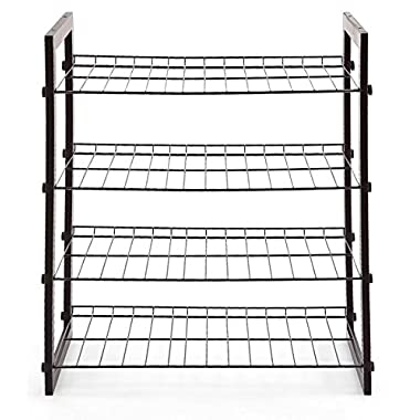 STORAGE MANIAC 4-Tier 12-Pair Shoe Rack, Space Saving Shoe Organizer for Entryway, Black Steel Wire with Wood Frame