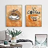 Clásico retro taza de café pintura en lienzo carteles e impresiones retro cuadros de arte de la pared sala de estar decoración del hogar 50x70cmx2 piezas marco interior