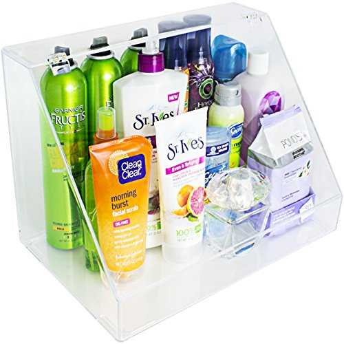Sorbus Acrylic Cosmetics Makeup Organizer Storage Case Palette Holder Display with Slanted Front Open Lid-Cosmetic Storage for Makeup Brushes Perfumes Skincare