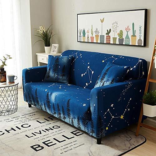 Funda Sofá 235-300 cm con Funda de Cojín de 4 Piezas 45x45 cm (Pack de 5), Poliéster Stretch Cubre Sofá Funda Protector Antideslizante Sofa Couch Cover (Estrellas Azules/4 Asientos)