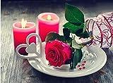 DIY diamante bordado rosa rosa diamante pintura flor cuadrado completo 3d mosaico de diamantes de imitación decoración del hogar sin terminar-11,8 x 15,7 pulgadas