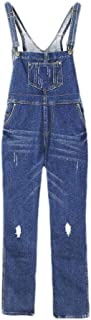 neveraway Womens Destroyed Casual Weekend Denim Loose Washed Pocket Bib Overalls