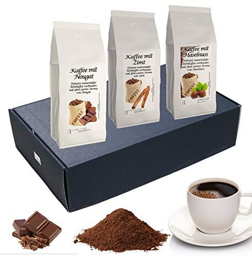 Geschenk Set Aromatisierter Kaffee Gemahlen 3 x 200 g (Nougat, Zimt und Haselnuss)