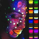 Schwarzlicht Bodypainting Farben | UV Schminke & Neon Körperfarben Set | 8 x 20 ml Leuchtfarben von...