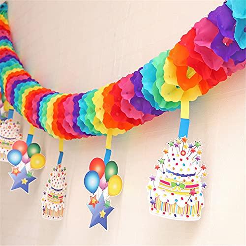 DanLink Colorido arco iris corazón Banner colorido fiesta papel guirnalda forma de corazón colgante decoraciones para fiesta de cumpleaños decoraciones de boda