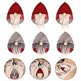 PRETYZOOM 6 Piezas de Navidad Cubiertos de Plata Sueco Santa GNOME Vajilla Titular Cuchillo Tenedor Bolsas Cubierta Fiesta de Navidad Mesa Decoraciones para Fiesta