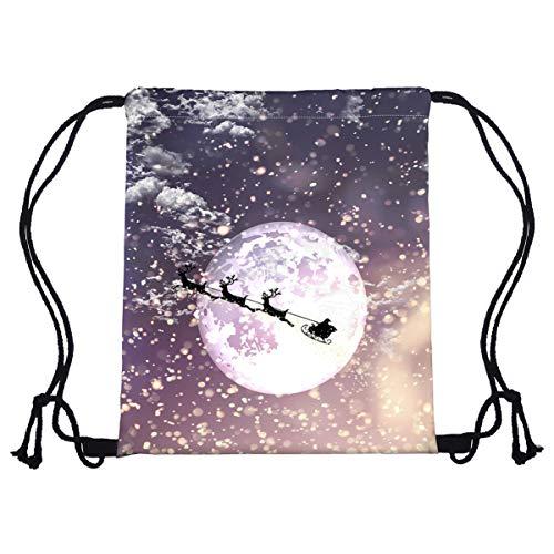 Amosfun Kordelzug Weihnachten lustig weihnachtsmann fährt Schlitten Druck Rucksack Polyester Tasche für die Reise nach Hause