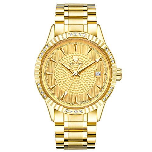 JTTM Reloj De Pulsera Mecánico Automático para Hombre, con Calendario, De Acero Inoxidable, Resistente Al Agua,Oro
