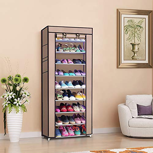 Nemore Tall Shoe Rack Organizer with dustproof Cover Non-Woven Fabric Shoes Rack Storage Cabinet 10-Layers 9 Lattices