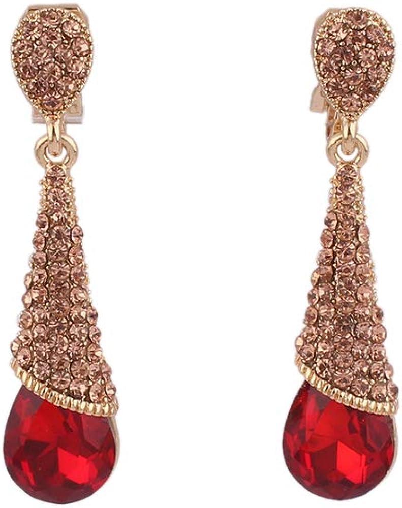 HAPPYAN High-grade Rhinestone Crystal Water Drop Shape Clip on Earrings No Pierced for Women Party Wedding Ear Clip