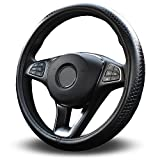 Vitodeco Odorless Luxury Genuine Leather Steering Wheel Cover, Dragon Scales Design, Excellent Grip, Nontoxic, Standard Size 14.5' (Black)