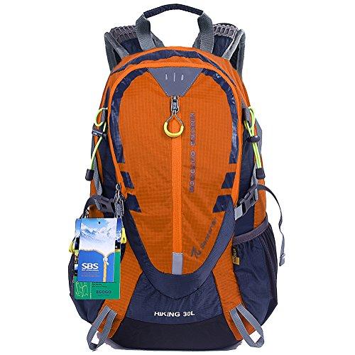 EGOGO 30L Wasserdicht Wanderrucksack Camping Rucksack mit Regenschutz Laufen Radfahren im freien S2316 (Orange)