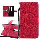 Foto ISAKEN Compatibile con Motorola Moto X Style Custodia[PU Pelle] [Shock-Absorption], Libro Flip Cover Portafoglio Case Tinta Unita Caso con Supporto di Stand/Carte Slot/Magnetica - Girasole: Rossa
