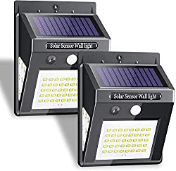 Karrong Solar Lights Outdoor, 50 LED/3 Working Mode, 270° Wide-Angle Solar Motion Sensor Lights Wireless Waterproof Outdoor Lights for Garden Fence Patio Garage Pool 2 Pack