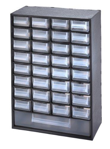 Sundis 7203001 Multibox Bloc de Rangement avec 33 Tiroirs Polypropylène Noir/Transparent 29,8 x 15 x 41,4 cm