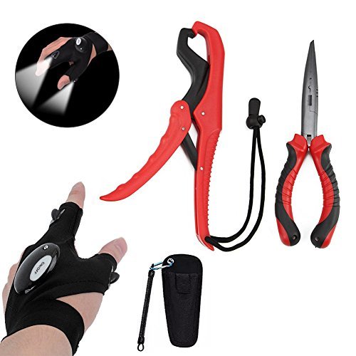 nawaish Fishing Pliers Long Nose G1 & Floating Fish Lip Gripper,Needle Nose Pliers - Split Ring Pliers,Fishing Hook Remover,Crimper,Fishing Line Cutter in Freshwater & Saltwater with LED Light Gloves