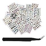 SENDILI Decorativas Pegatina de Uñas - 50 Hojas/Set+1 Pinza Para Mujeres y Niñas Marca de Agua Pegatinas Para Decoración de Uñas Diseño de Uñas Kit de Herramientas
