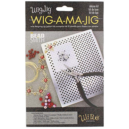 The Beadsmith, Wig Jig, Wig-A-Ma-Jig Deluxe, 4.5 x 5.5 inch square jig, includes 30 metal pegs, tool for making wire findings, components and jewelry designs