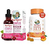 Liquid Vitamin B Complex & Omega Gummies Bundle by MaryRuth's | B Complex Liquid (Tart Cherry), 1oz | Omega 3-6-7-9 Gummies for Kids & Adults, 120ct | Vegan, Non-GMO