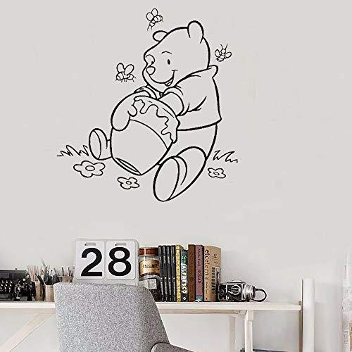 Winnie The Pooh Muurtattoo Winnie The Pooh voor kinderkamer Poeh beer eten honing baby kamerdecoratie bloemen bij 14.5x14.5 cm