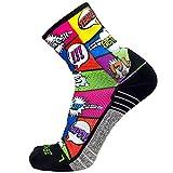 Zensah Limited Edition Running Socks - Anti-Blister Comfortable Mini-Crew Sport Socks, Moisture Wicking (Medium, Pop Art)