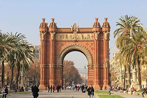 DFKDGL Arquitectura del Paisaje del Arco de Triunfo de Barcelona, Rompecabezas de 1000 Piezas de 75x50 cm, Rompecabezas de Madera para Adultos Juegos educativos para adul