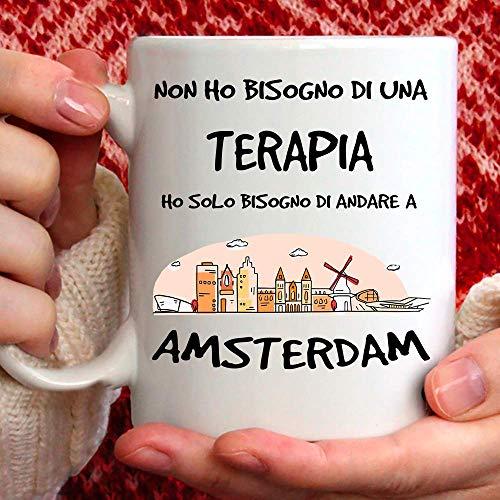Taza Amsterdam apta para desayuno, té, tisana, café, capuchino. Gadget Taza: Ho Solo tienes que ir a Amsterdam. Idea de regalo original
