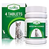 HerbalVet 4 Tablets Cat Intestinal Cleanse | Cat Dewormer Alternative | Cleansing Tablets for Cats, Promotes Intestinal Health | 4 Tablets, Works for Kittens | Helpful E-Book Included (4-Pack)