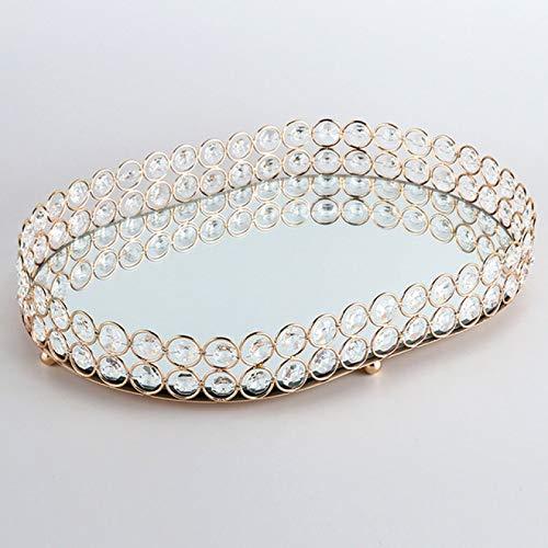 BECCYYLY Schmuck TablettGlas Kristall Edelstein Diamant Oval Spiegel Glas Gold Kerzenhalter dekorative Tablett |Ablagefach