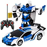 Xplanet RC Car for Kids Transform Car Robot Toy, One-Button Deformation Car Model Toy 1:18 Transformation Remote Control Vehicle for Children Perfect for Birthday Gift (White Blue Police)