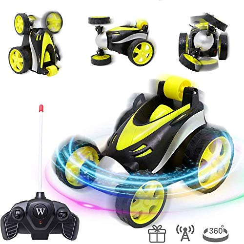 MMPY Rc Cars for Boys Remote Control Stunt Car Light Upright Walking RC Stunt Rotation Cars 360° Spin and Flips Toy Gift for Boys Girls (Color : Yellow)