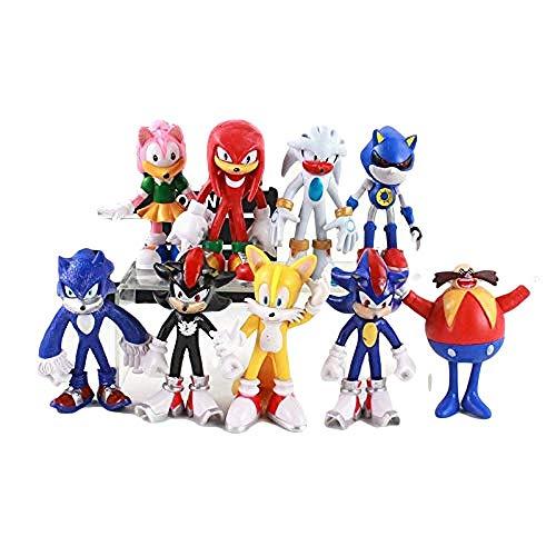 Figuras sónicas 9 unids/Lote Figura sónica Dr Eggman Boom Rare Sonic Shadow Tails PVC Figura de acción Modelo Decoraciones de Juguete Modelo Regalo de Marionetas