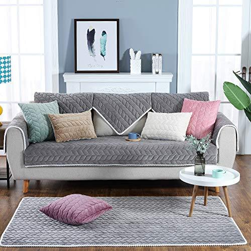 papasgix Sofabezug Plüsch Anti-rutsch Couch Sofa Abdeckungen Moderne schlichtheit Couch abdeckungen Sofaüberwurf Decke für Ledersofa Sessel L-Form Sofa(Grau,70x120cm)