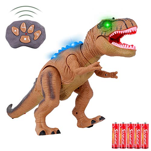 FiGoal Remote Control Walking Dinosaur Toy with Roaring Sound and LED Lights, RC Tyrannosaurus T-Rex Dinosaur Toy Valentine's Gift for Kids and Toddlers 3 to 12 Years Old Boys and Girls (Brown)