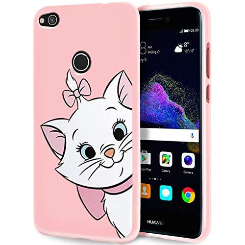 ZhuoFan Cover Huawei P8 Lite 2017/P9 Lite 2017, Custodia Cover Silicone Rosa con Disegni Ultra Slim TPU Morbido Antiurto 3D Cartoon Bumper Case Protettiva per Huawei P8 Lite 2017/P9 Lite 2017, Gatto