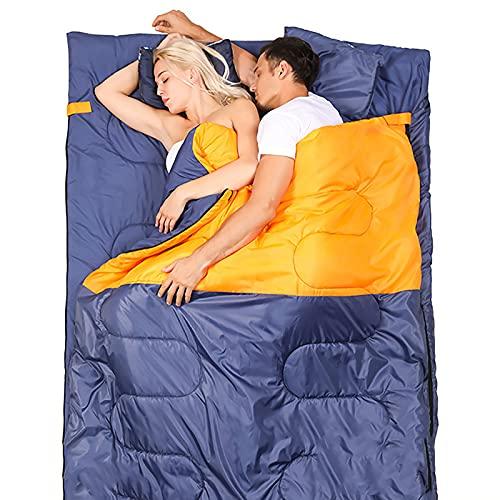 LZJDS Bolsos para Dormir para Adultos Adolescentes Ampliar el Doble Saco de Dormir Interior y al Aire Libre 4 Temporadas Cálido Fresco Tiempo portátil Impermeable,Naranja