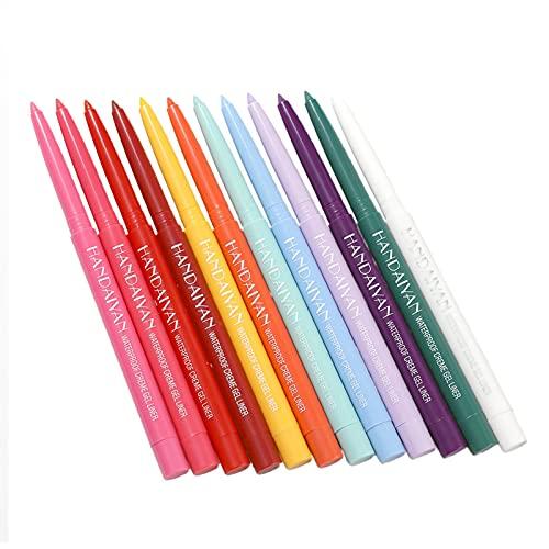 DRXX 12 unids Eyeliner Mate a Prueba de Agua, Conjunto de lápices de Ojos Multicolor, Mejor lápiz de delineador de Ojos a Prueba de Manchas Impermeables
