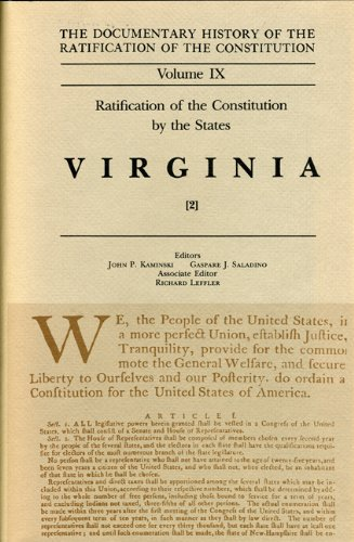 Ratification by the States Virginia Vol 2 (Documentary History of the Ratification of the Constitution)