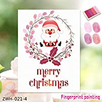 LY-YY 壁紙 3Dステッカー3D指紋はクリスマスイブ、F絵画ホームデコレーション絵画 DIYクリエイティブクリスマス老人フィンガークリエイティブ指紋絵画