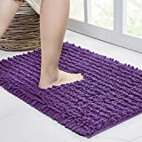 Walensee Bathroom Rug Non Slip Bath Mats (24x17 Inch Lavender) Water Absorbent Super Soft Shaggy Chenille Machine Washable Dry Extra Thick Perfect Absorbant Best Small Plush Carpet for Shower Floor