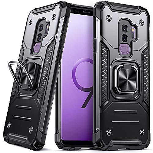 DASFOND Armor Hülle für Samsung Galaxy S9 Plus/S9+ Case Militärische Stoßfeste Handyhülle [Upgrade 2.0] 360 ° Ständer Cover mit Auto Magnet,Schwarz