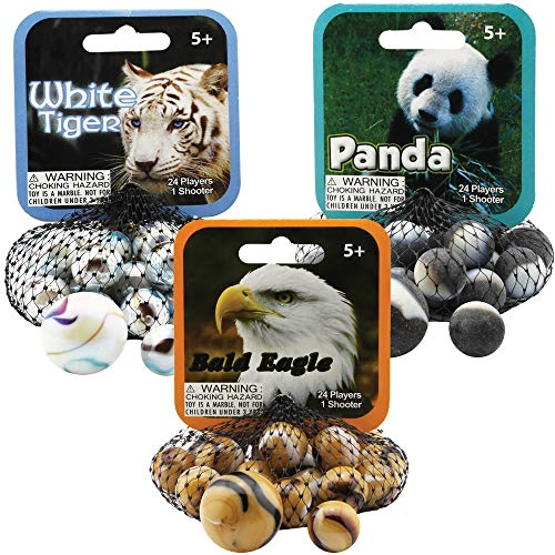 Mega Marbles 3 Pack - Bald Eagle, White Tiger, & Panda Game Nets - Includes 1 Shooter Marble & 24 Player Marbles Per Net