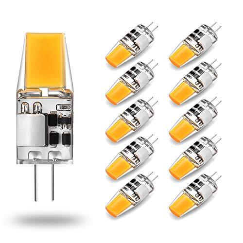 LED G4 Lampadina 5W Equivalente a 50W alogena Bulbi, Bianco Caldo 3000K, G4 Presa di Corrente Risparmio Energetico Lampada, Senza Sfarfallio, Non Dimmerabile, 500LM, 12V AC/DC, 10 pezzi