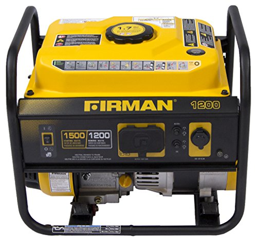 Firman P01202 1500/1200 Watt Recoil Start Gas Portable Generator cETL and CARB Certified with 12V-8.3A Charging Outlets, 54 lb. Black/Yellow