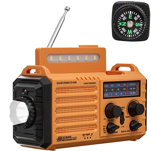 Noaa Weather Alert Radio,Solar/Hand Crank Emergency Radio,AM/FM/WB Shortwave Radio Portable,Outdoor Survival Gear,5 Way Power,2000mAh Rechargeable Battery,Phone USB Charger,LED Flashlight/Reading Lamp