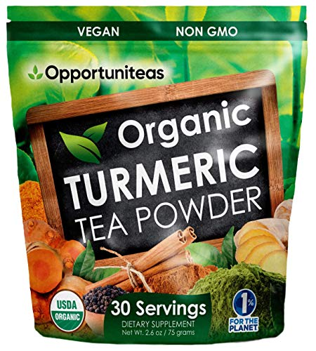 Organic Turmeric Tea Powder - Matcha Green Tea, Turmeric, Cinnamon, Ginger, Black Pepper - Natural Joint Support Supplement for Juice, Smoothie & Drinks - Vegan & Non-GMO - 30 Servings