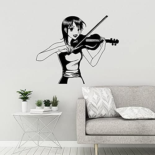 Vinilo de la pared de la pared anime manga niña jugador violín pegatina de pared música música musical decoración calcomanías extraíble decoración de pared mural 51x42cm