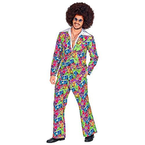 WIDMANN 09343 Groovy Style - Vestito da uomo, anni '70, multicolore, L