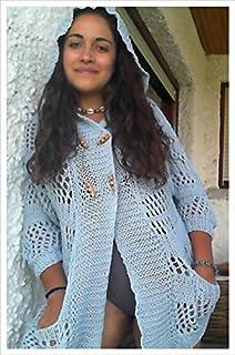 Chaqueta azul de verano, de lana, hecha a mano, para mujer o chica talla S-M
