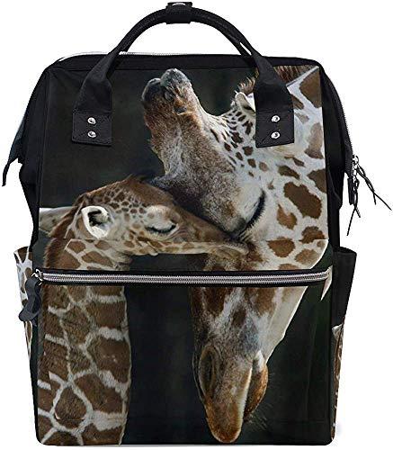 Schooltas voor ouders, kind, giraffen verzorging, luiertas, moeder, mummierugzak, reizen, waterdichte babyrugzak, opdruk, mummiezak, stijlvolle papa-luier, draagtassen, grotere capaciteit
